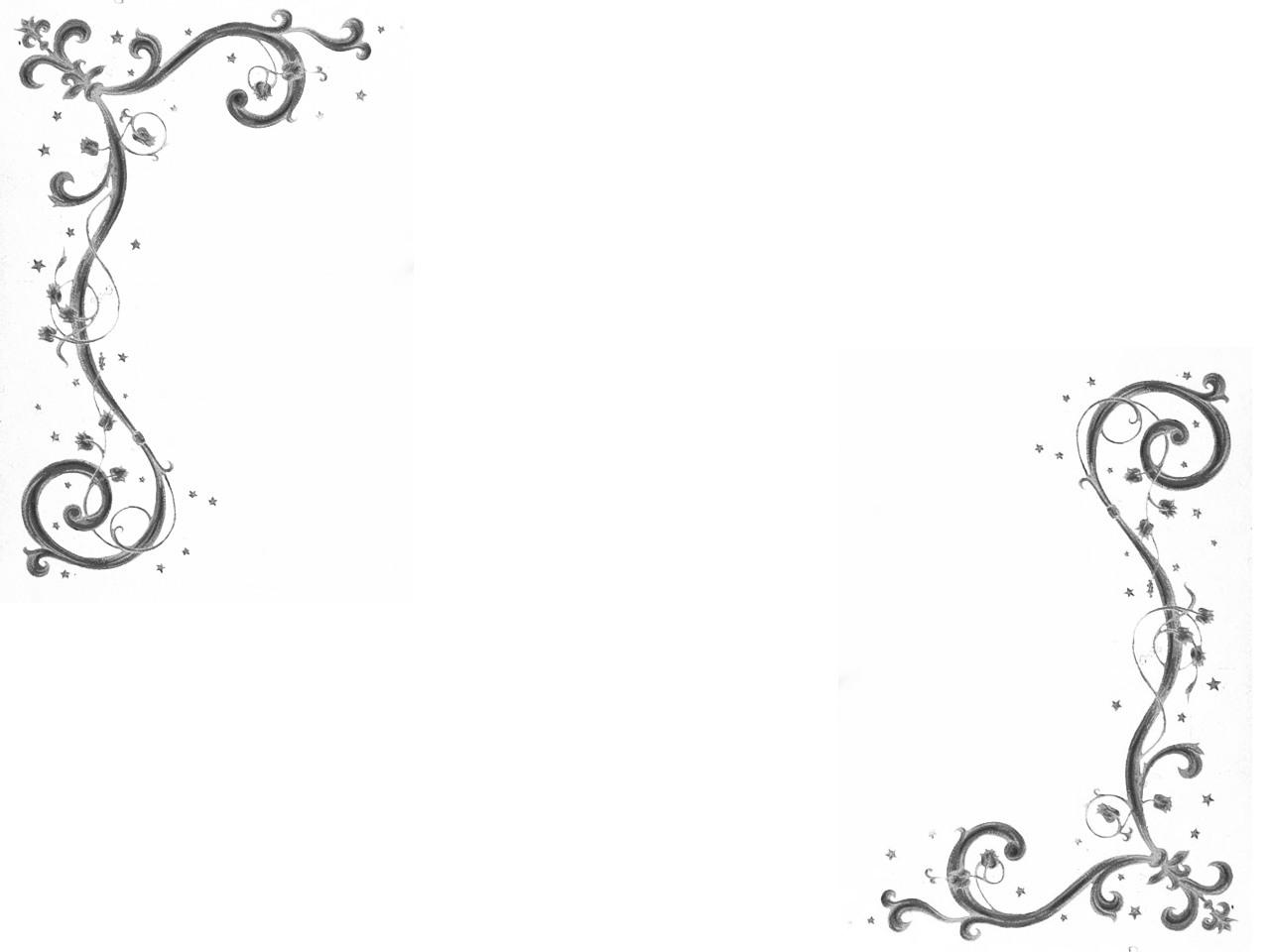 简单黑白花边框素材,简笔画花藤边框素材,画轴花边框素材